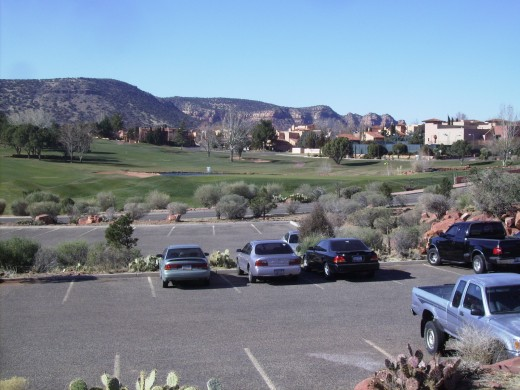 Looking over the golf course at the resort where we have our timeshare.  Despite the temperature being in the mid-thirties, there were a couple of hearty golfers on the course.