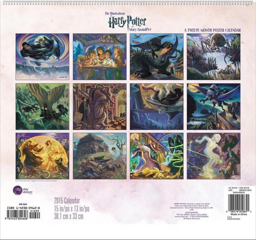 The Illustrations of  Harry Potter by Mary Grandpre Poster Calendar (2015)
