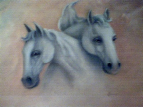 White Horses by Jean Powers JPbar ART Studio, done in oils, JPbar the registered family brand in Wyoming.