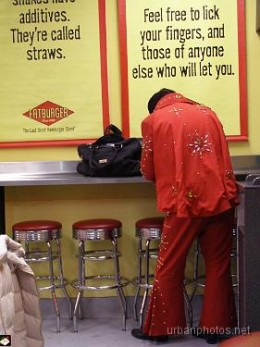 Elvis impersonator in the Las Vegas Blvd. Fatburger, December 24, 2006