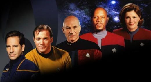 Star Trek Captains through the ages.  From left: Scott Backula, William Shatner, Patrick Stewart, Avery Brooks and Kate Mulgrew