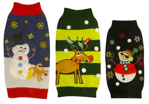 Left to Right: Humorous Navy Snowman and Naughty Dog, Fun Green Reindeer, and Black Snowman. Available in a range of sizes at