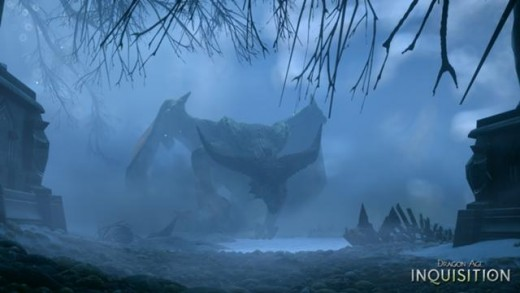 A dragon from Inquisition shrouded in its lair
