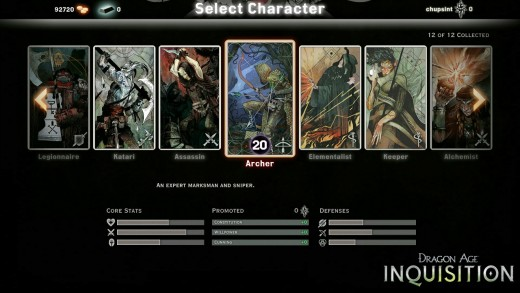 Inquisition's multiplayer character selection screen