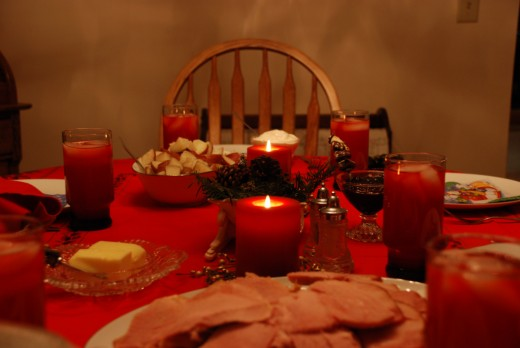 A Christmas dinner table with only essentials