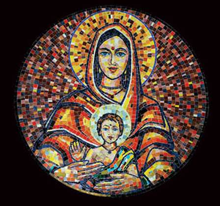 A mosaic of Mary and Jesus by Indian artist Balan