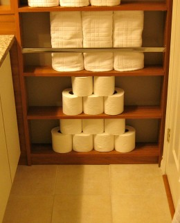 4 inches of unused space behind the bathroom door is turned into an incredibly useful shelving unit!