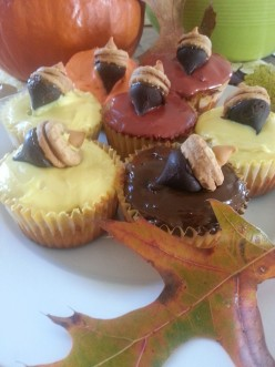 Apple Cupcakes: Frosted In Autumn Colors  With Candy Acorn Toppers