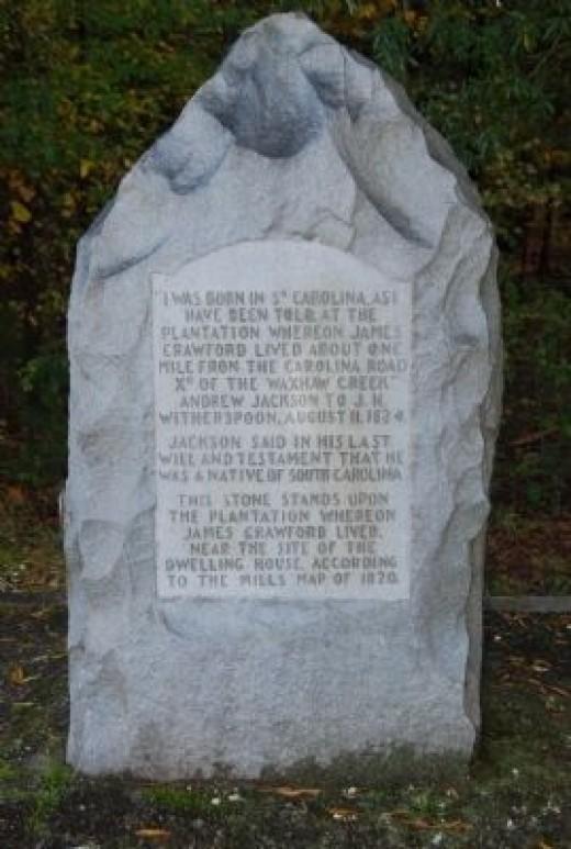 Jackson's South Carolina birthplace monument.