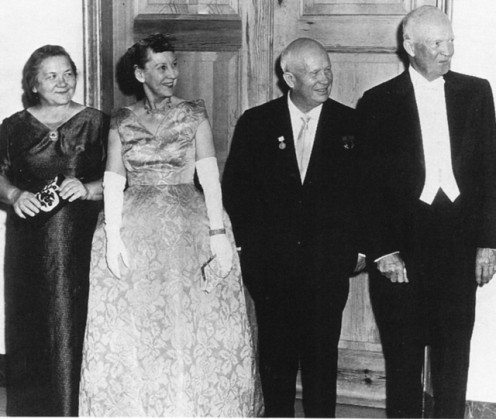 President Dwight Eisenhower and Nikita Khrushchev with their wives at an American state dinner in 1959.