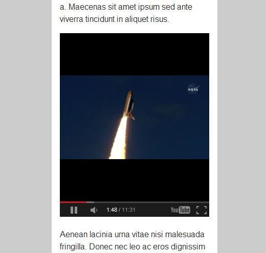 A 640x360 sized Youtube video embed viewed on a smaller screen with iframe {max-width:100%;} style applied.