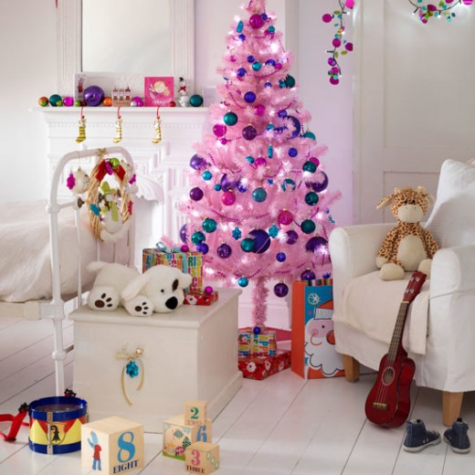 Pink and blue Christmas tree for a little girl's room.