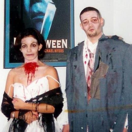My hubby & I as zombies in 1997.  I'm a big Walking Dead Fan.