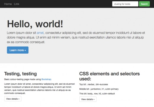 Standard Bootstrap screenshot. Clean. Professional. Not everyone's cup of tea.