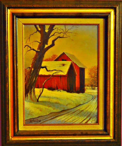 """A very rustic and moving """"Winter and the Red Barns"""" painting by Ray Mikrut. The view from the heart was always the theme in his paints."""