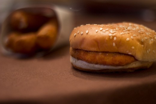 Order a plain chicken sandwich to add mozzarella sticks and sauce to.