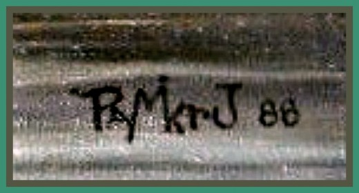 Ray Mikrut has a very distinct signature on his artwork, this is an example of his signature on paintings, and this was very  unmistakable.