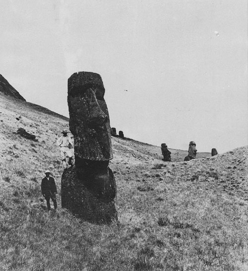 Scattered Statues On Easter Island