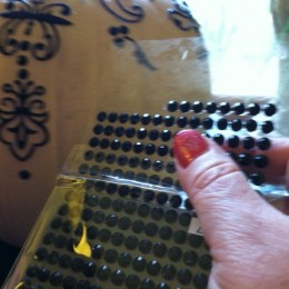 """The black """"rhinestones"""" come in sheets. Just peel one off and stick it where you want it."""