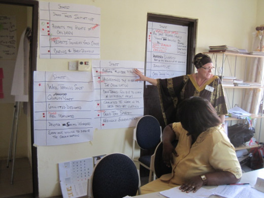 "Kathy Stutzman facilitating in Ghana on ""local dress day"". Wearing the appropriate hat creates bonds"