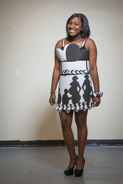 Fashionista in Black and White 3-D Dress