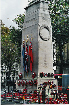 Cenotaph on Whitehall, London, in November 2004 (with wreaths laid down on Remembrance Day). Photo Chris Nyborg.  Creative Commons
