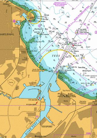 Tees Bay marine chart with pilot markers for navigation