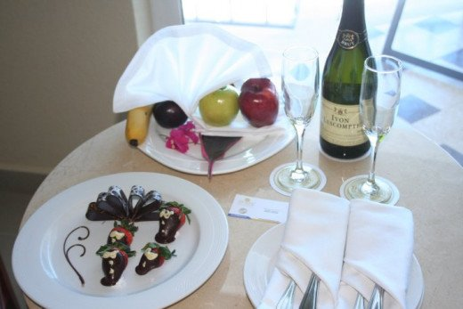 Chocolate Covered Strawberries and Champagne in Suite