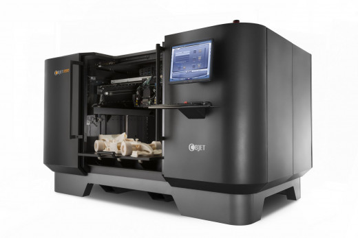 A 3D Printer can print solid objects made of plastic or metal in three dimensions.
