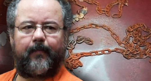 The face of Child-Kidnapper Ariel Castro superimposed over some of the many chains and restraints found in his home. Castro held 3 young girls captive for ten long years. He attributed his predator mindset in large part to his pornography addiction.