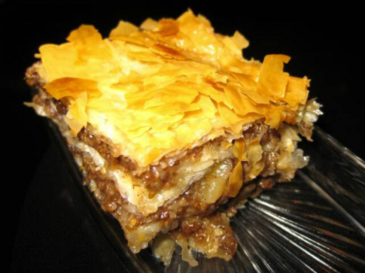 Layered with lots of black walnuts, this is one unusual baklava!