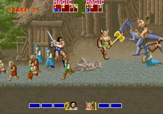 In Golden Axe you can play as a female or male warrior wielding a sword or a Dwarf Warrior with an Axe. Each warrior also can obtain magic spells that eliminate enemies.