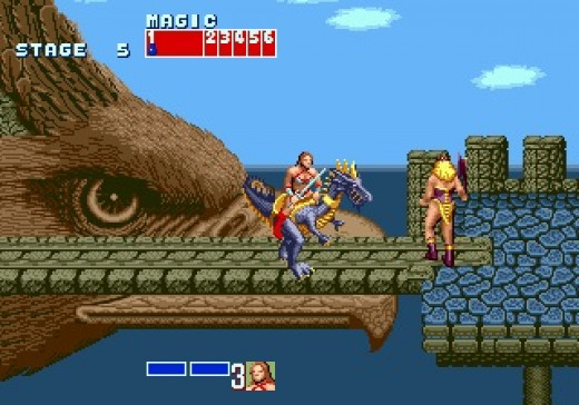 In Golden Axe you have a sword or an axe as well as animals that you can ride who breath fire, shoot fireballs and swing their painful tails.