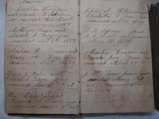 Abraham Bates Tower recorded family births, deaths and marriages in his small black pocket diary.