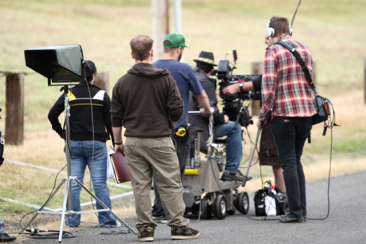 A crew on a film shoot