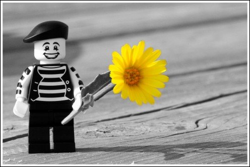 Happy Mime with Flower