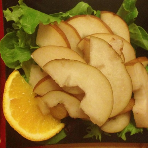 Pear salad to accompany the delicious cheese and leek puff pie