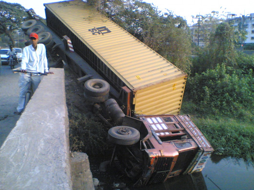 An accident possibly caused by driver error