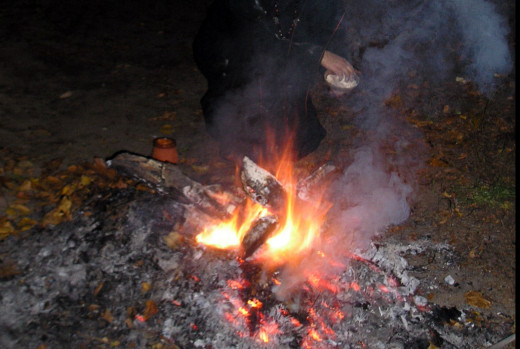 Fire on grave of ancestors