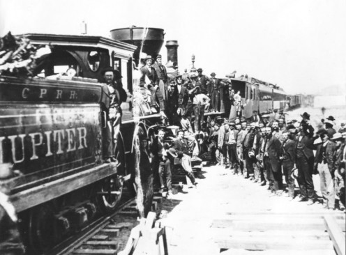 Driving in the last spike: ceremony marking the opening of the first United States transcontinental railroad, May 10, 1869