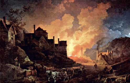 Coalbrookdale by Night. Artist: Philippe-Jacques de Loutherbourg. 1801. Industrial Revolution.
