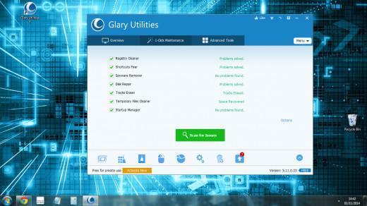 Screenshot of Glary utilities 1 click maintenance.