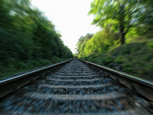 The railway tracks struck her as a metaphor of life's journey...