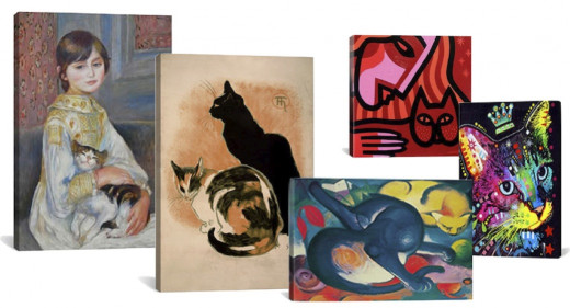 Canvas Prints, Left to Right: #1301 Julie Manet with Cat 1887, #VAC148 Two Cats By Steinlen, #1901  Two Cats (Blue and Yellow) By Franz Marc, Cat, #JNN4 Woman By John Nolan, #4211 Thinking Cat Crowned By Dean Russo. Available at