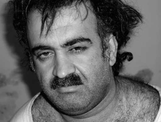 Photo of Khalid Sheikh Mohammed after his capture at a house in Rawalpindi Pakistan March 1, 2003. He is now being held at the American prison at Guantanamo Bay in Cuba.