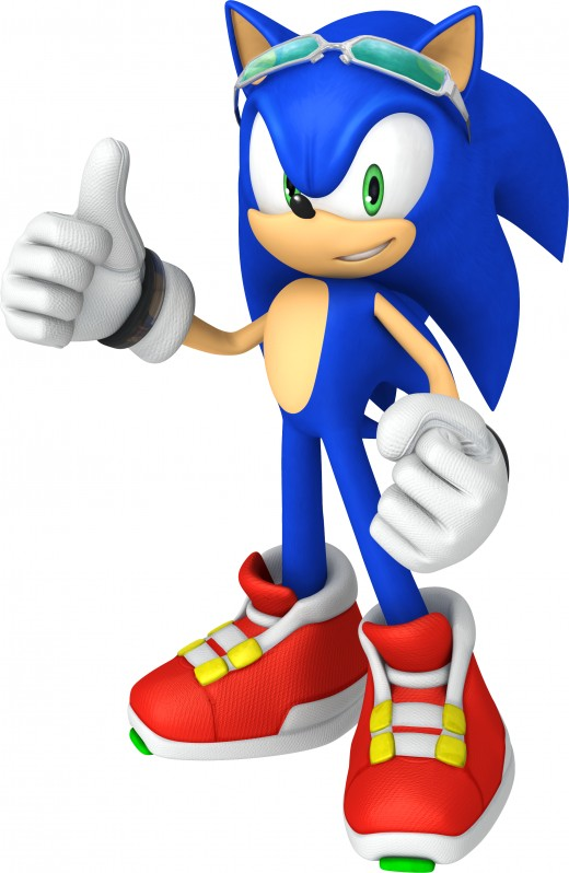 Sonic as he appeaser in the Sonic Riders series.