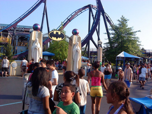 Heading for the Batman ride with my son at Six Flags, New England
