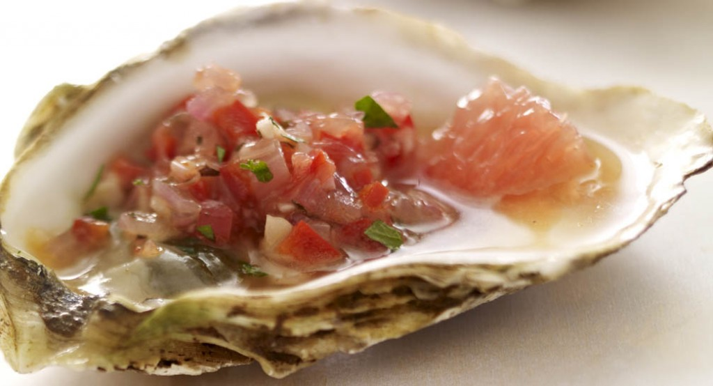 Grilled Oysters With Grapefruit And Red Pepper Relish