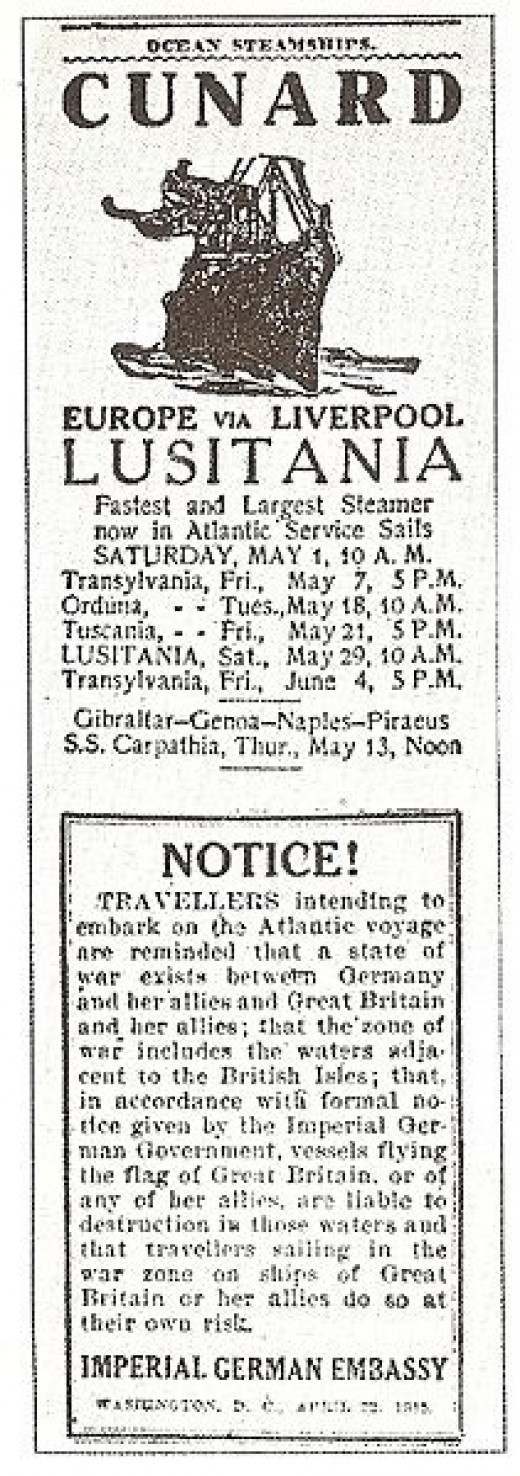 1915 German ad in New York Times Warning Travelers that Passenger Ship Lusitania would be torpedoed