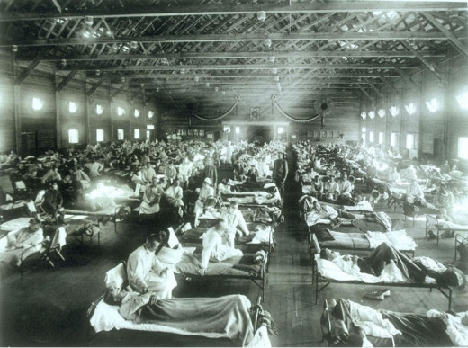 Soldiers sick with Spanish Flu in hospital at Ft. Riley, Kansas